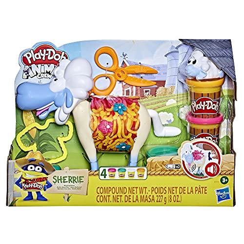 PlayDoh E7773 Animal Crew Sherrie Mama Wollschaf Spielzeug für Kinder ab 3 Jahren mit lustigen Geräuschen und 4 PlayDoh Farben