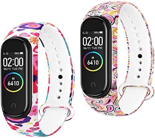 DEOU Cinturino Compatibile per Xiaomi Mi Band 4 Cinturino per Xiaomi Mi Band 3 Braccialetto, Cinturini Silicone con Stampati per Mi Band 4/3, Senza Dissolvenza