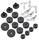 (23 Pieces) Cymbal Replacement Accessories, Cymbal Felts Hi-Hat Clutch Felt Hi Hat Cup, Felt Cymbal Sleeves with Base Wing Nuts, Washer, Sleeves and Base Wing Nuts Replacement for Drum Set