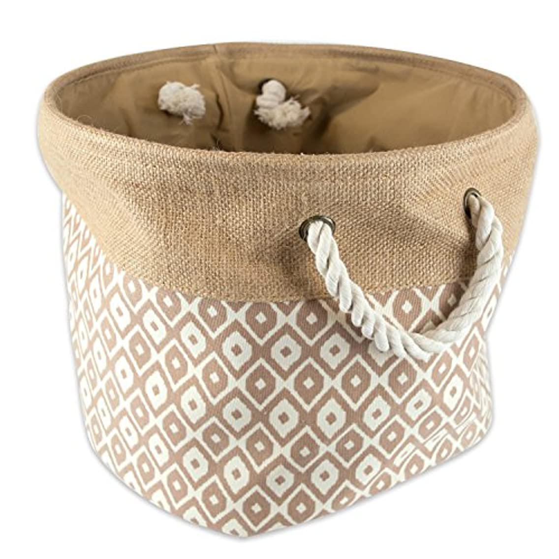 DII Collapsible Burlap Storage Basket or Bin with Durable Cotton Handles, Home Organizational Solution for Office, Bedroom, Closet, Toys, & Laundry (Medium Round - 15x12