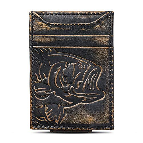 HOJ Co. BASS FISH Front Pocket Wallet | Slim Money Clip Wallet | Strong Magnetic Closure | Bass Fisherman Gift