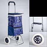 Carrito de Compras portátil Trolley Carrito de Compras portátil Aleación de Aluminio Ligero Compras Plegables |Wagon Grocery Store 2 Carrito Plegable con Ruedas silenciosas Resistente al de