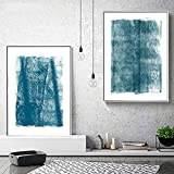 Póster de lienzo Patrón geométrico abstracto azul Pintura minimalista Arte de pared moderno escandinavo Decoración Sala de estudio Dormitorio- (50X70cm) 2pcs Sin marco