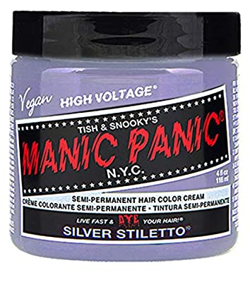 Manic Panic Silver Stiletto Gray Hair Dye - Classic High Voltage - Semi Permanent Hair Color - Icy Silver Shade with Lavender Tint - Vegan, PPD & Ammonia-Free - For Hair Coloring on Men & Women