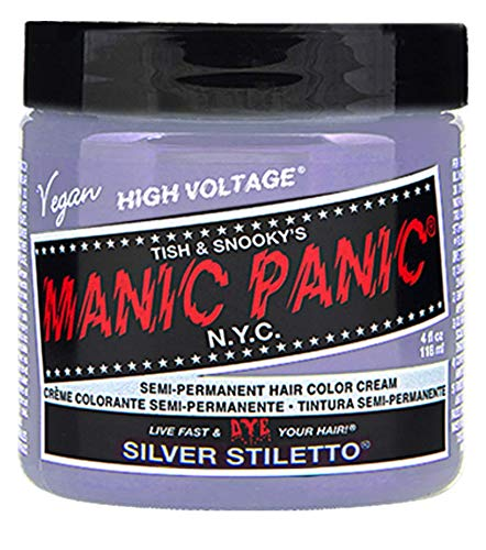 Manic Panic Silver Stiletto Gray Hair Dye - Classic High Voltage - Semi Permanent Hair Color - Icy Silver Shade with Lavender Tint - Vegan, PPD \& Ammonia-Free - For Hair Coloring on Men \& Women
