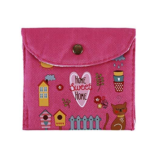 KUOZEN Geldbörse Brieftasche Tasche Silikon-Kabelschutz Keks-Federbeutel Selbstklebender Wire Organizer Roller Screen Federtasche Süße Geldbörse Rose red