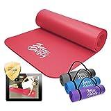 Jung & Durstig Yogamatte Gymnastikmatte Sportmatte Fitnessmatte rutschfest mit Tragegurt | 180 x 60 x 1 cm | Rot
