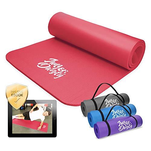 Jung & Durstig Tappetino da yoga e ginnastica, antiscivolo, con tracolla, 180 x 60 x 1 cm, colore: rosso