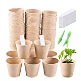 Migaven Vasetti Biodegradabili, Seed Starter Peat Pots, Kit 100Pcs Vassoi di Semina Germinazione Biodegradabile e 2 Pezzi Piantine Dibbers e 50 Pezzi Etichette Vegetali per Home Garden Serra