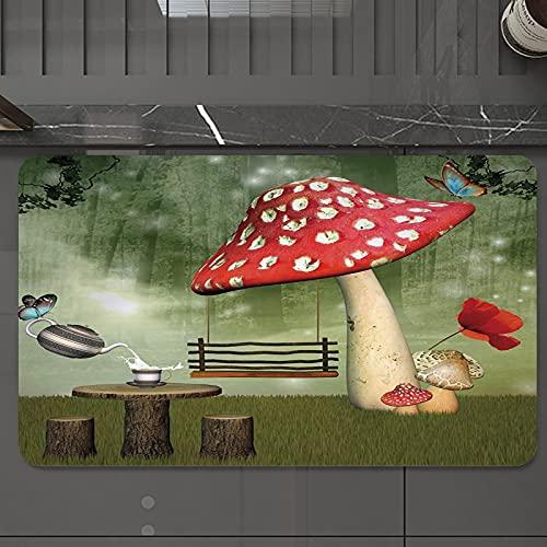 Alfombrilla de Baño Antideslizantes de 50X80 cm,Champiñón, Picnic en Fantasy Garden Mesa de , Tapete para el Piso Lavable a Máquina con Microfibras Suaves Absorbentes de Agua para Bañera, Ducha y Baño