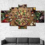 Sin Marco Cuadro sobre Lienzo 5 Piezas Impresión En Lienzo Cuadro Pintura Póster Arte Moderno Oficina Sala Estar Dormitorio Decoración del Hogar Arte Pared Pizza Comida Verduras Fruta 200X100Cm