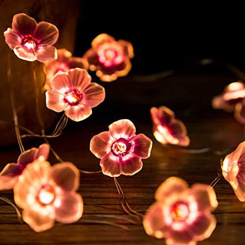Kirschblüte Blume Lichterketten,KINGCOO 10FT 30LED Rosa Pflaume Pfirsich Kupferdraht Lichterketten Batteriebetrie für Schlafzimmer Mädchen Zimmer Wand Hochzeit Geburtstag Party Dekorationen