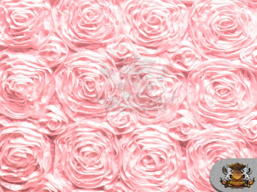 """Rosette Satin Fabric Pink / 54"""" Wide/Sold by The Yard"""