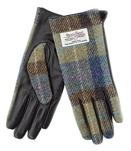 Glen Appin Damen Braun Leder und Original Harris Tweed Handschuhe Farbe 58 - Beige/Blau...