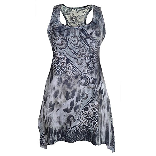 Innocent Immortal Skull 2in1 Top - Girlie, grau / schwarz