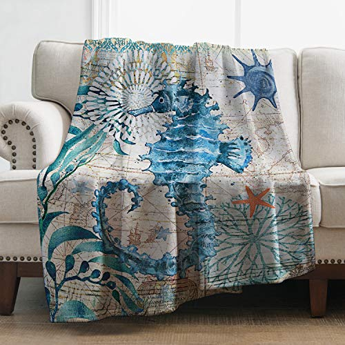 Levens Seahorse Throw Blanket Soft Ocean Animal Print Blanket for...