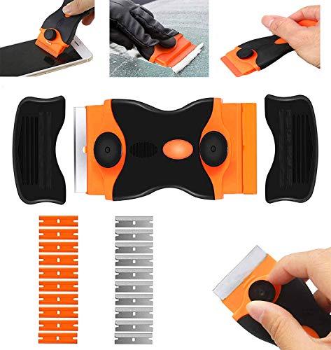 Rasqueta vitroceramica -Raspador Especial para Vitro-Cerámicas y Placas de Inducción- con 10 Piezas Acero Cuchillas Y hoja de plastico (naranja)
