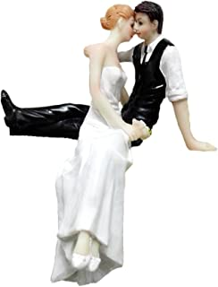 Wedding Cake Toppers Bride and Groom Sitting & Embracing Resin Dolls Wedding Decoration Present 4.7