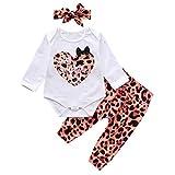 puseky mi Primer día de San valentín Trajes recién Nacido bebé niña Estampado de Leopardo Mameluco Diadema Conjunto de Ropa