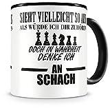 Samunshi® Ich denke an Schach Tasse Kaffeetasse Teetasse Kaffeepott Kaffeebecher Becher schwarz