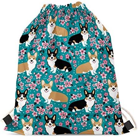 doginthehole Stylish Floral Backpack Boys Girls Outdoor Casual Gym Bag Adorable Corgi Gifts product image