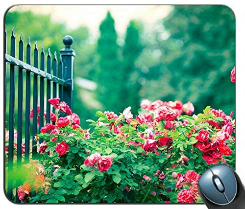 Rote Rose Blumen Eisen Zaun Mauspad Anti-Rutsch-Desktop-Mauspad Gaming-Mauspad