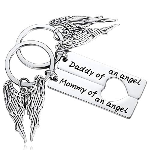 2PC Infant Loss Gifts for Parents, Miscarriage Gifts for Mothers, Mommy Daddy of an Angel Keychain Set, Child Loss Baby Loss Memorial Jewelry