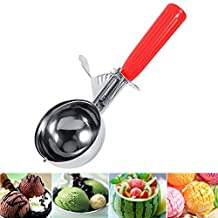 Glomiss Ice Cream Scoop Stainless Steel Spoon with Trigger Lever Comfort Grip Handle