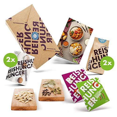 Reishunger Indian Curry Box 3er Set (für 4 Personen) Alles in einer Box - Curry Paste, BIO Basmati Reis, Kokosmilch und Indischem Reis Gewürz