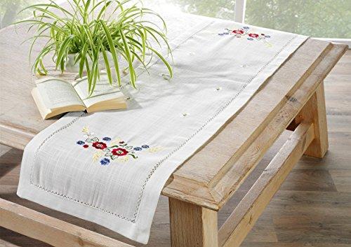 heimtexland Nappe d'automne naturelle, chemin de table, aspect lin, 40 x 140 cm, brodée avec fleurs, qualité supérieure, type 173