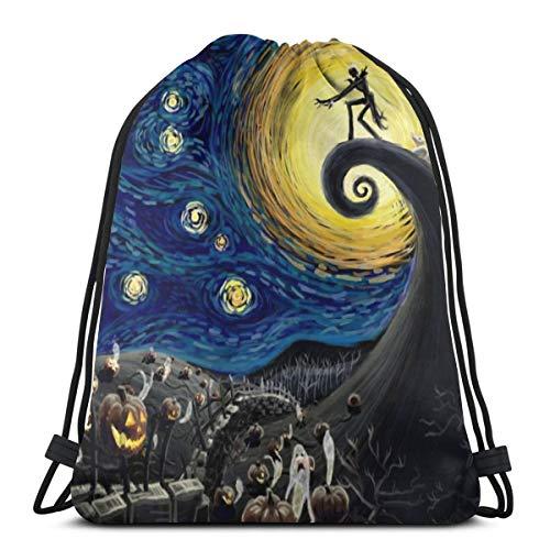 The Nightmare Before Christmas 3D Print Drawstring Backpack Rucksack Shoulder Bags Gym Bag Casual Running Daypack