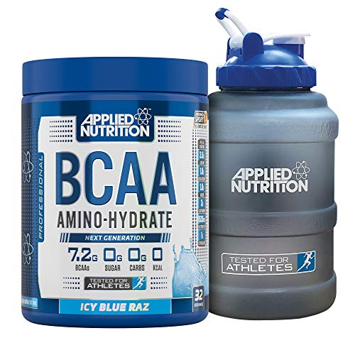 Applied Nutrition Bundle: BCAA Amino Hydrate Powder 450g + 2.5 LTR Water Jug   Branched Chain Amino Acids Supplement with Electrolytes, B Vitamins, Intra Workout & Recovery Drink (ICY Blue Raz)