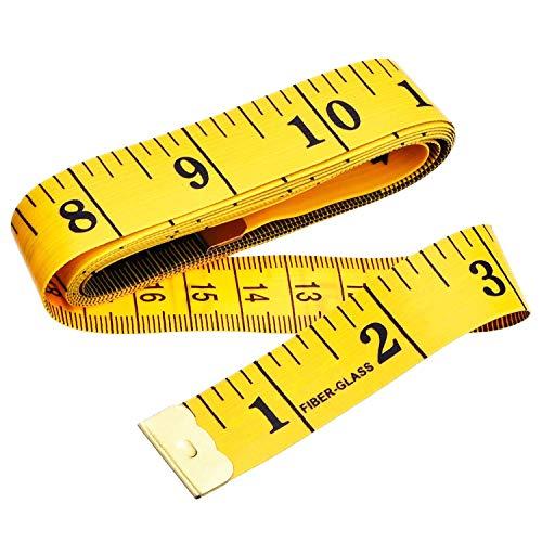Cinta métrica blanda de doble cara para medir el cuerpo (la circunferencia del pecho/la cintura). Herramienta de costura, 150cm. Color amarillo, y números, rayas y letras de color negro