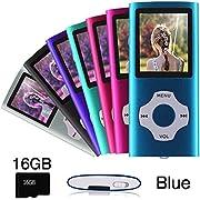 Ueleknight Lecteur MP3 MP4 avec Carte Micro SD 16G, Lecteur de Musique Numérique Portable/Vidéo/E-Book/Visualisation d'images, Lecteur de Musique économique avec écran de 1,8 Pouces - Bleu