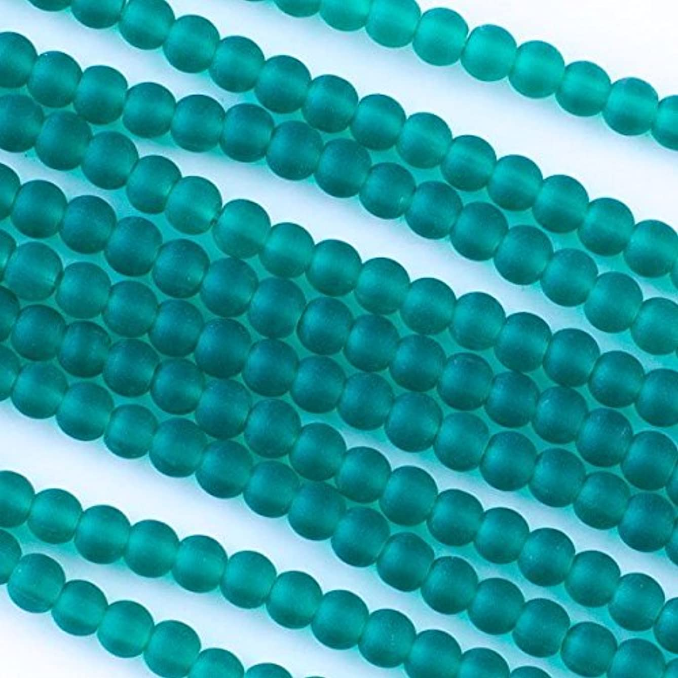 Cherry Blossom Beads Cultured Sea Glass 4mm Peacock Green Round Beads - 16 inch strand