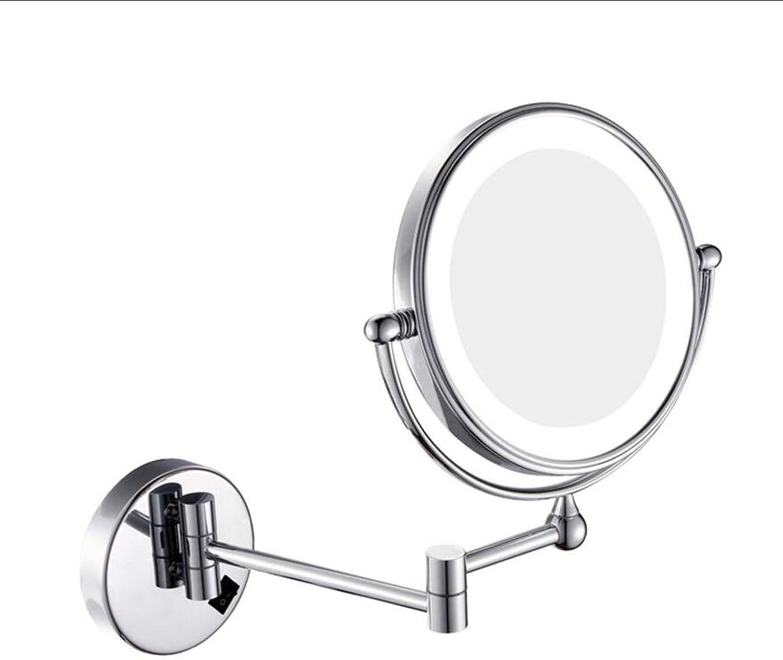 MAL LED-Wand-Spiegel-Badezimmer-faltender Teleskopwand-Verfassungs-Spiegel Wand-angebracht Doppelseitige Vergrerung 360 ° Rotation Art 3 Zoom (23cm  34cm) (Ausgabe   Plug)
