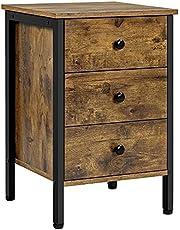 Yaheetech Nachtkastje nachtkastje nachtkastje voor boxspringbed, nachtkastje bijzettafel sofafel met 3 laden, 60 cm hoog, vintage bruin-zwart
