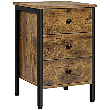 Topeakmart End Table with 3-Drawer Storage Shelf Industrial Retro Tall Side Coffee Sofa Telephone Table for Living Room Hallway Entryway Closet - Easy Assembly - Rustic Brown