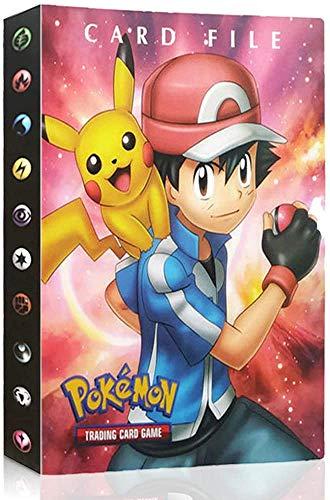 Funmo Álbum de Pokemon, Pokemon Karten Album Pokemon Karten GX EX Pokémon Cards Album, Hält 120 Karten einzeln oder 240 doppelt(Rot Xiaozhi)