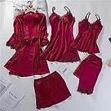 Spitze Patchwork 5PCS Nachtwäsche Nachthemd Kimono Bademantel Kleid Satin Lady NightyRobe Anzug Sexy Home Kleidung Weiß Hochzeitsrobe-a75-L