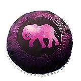 MOIKA Taies d'oreiller Elephant Motif Coussin Mandala ronde Oreillers sol indien méditation Couverture Bohême Achat Oreiller Linge de La Maison 43x43(F)