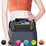 """QUANFUN Slim Running Belt, Fanny Packs Waist Pack with Two Zipper Pockets Pouch Bag Compatible for Women Men, Workout Phone Holder for iPhone XR XS Max X 8+, Galaxy, Fits up to 6.5"""" Cell Phones - Grey"""