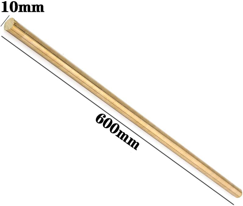 LEISHENT 2PCS H62 Brass Solid Round Rods for DIY Craft,Diameter 5Mm to 13Mm Length 600Mm,5x600mm