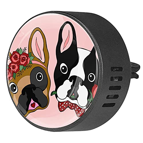 2 Packs Car Diffuser With Clip Air Fresheners,French Bulldog Sugar Skull Valentines,Aromatherapy Essential Oil Portable for bedroom