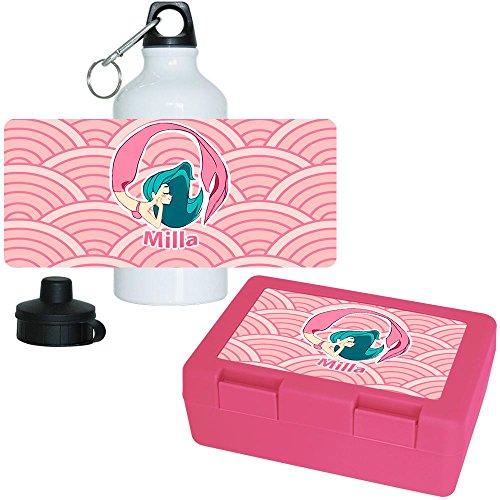 Brotdose + Trinkflasche Set mit Namen Milla und schönem Motiv mit Meerjungfrau für Mädchen | Aluminium-Trinkflasche | Lunchbox | Vesper-Box