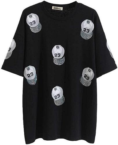 O&YQ Tee Shirt Femme s Hip-Hop Fille étrange Sauvage Chemise Léopard Perforée, Noir, l