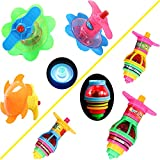 ALUESTY 6 Pack Light Up Spinning Tops for Kids, LED UFO Spinning Tops Novelty Bulk Toys Party Favors for Boys and Girls Best Gift Choice PartyFavors