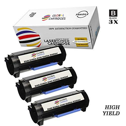 GLB Premium Quality Compatible Dell 331-9756 / X5GDJ Black Laser Toner Cartridge for Dell Laser B5460, B5460DN, B5465, B5465DN, B5465DNF Printers(3-Pack)