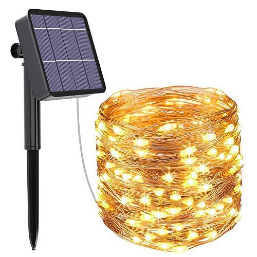 Solar koperdraadsnoer, 8-moled koperdraadlamp, 10 meter tuin gazonlamp waterdicht-Warm Wit_5 meter 50 lampjes