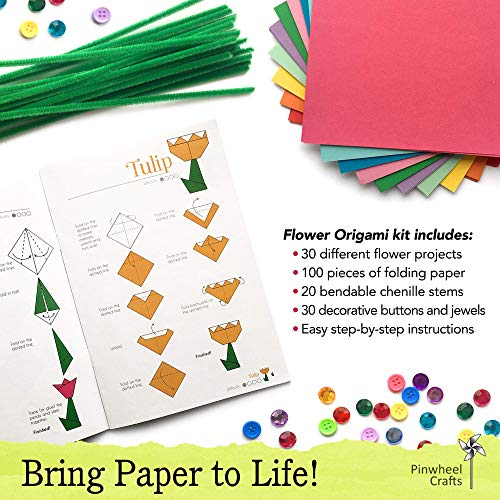 Kids Origami Paper Folding Kit: Girls Multi Color Foldable Paper Sheets For Flowers With Decorative Charms